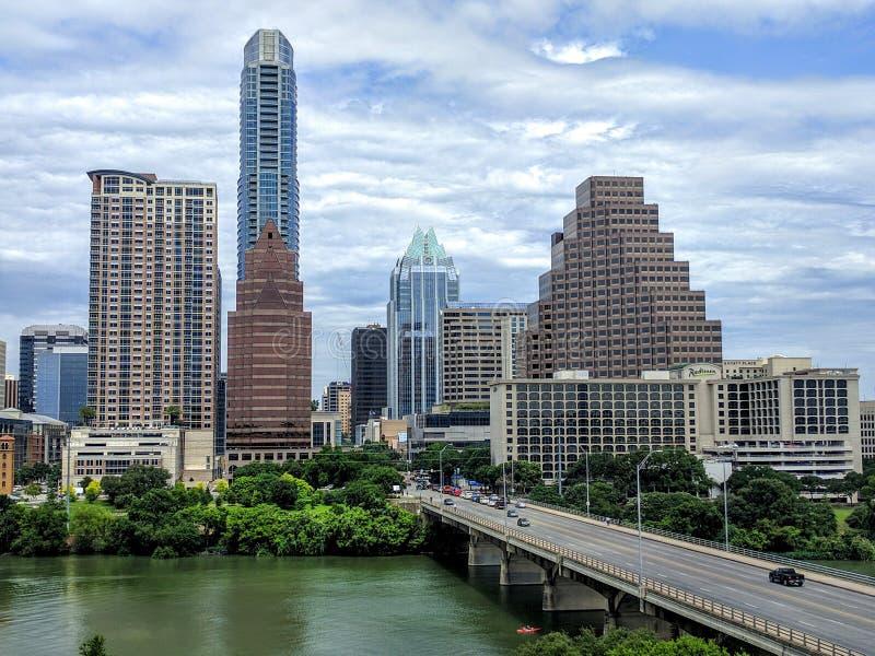 Downtown Austin TX. Skyscrapers in downtown Austin TX near Lady Bird lake stock photo