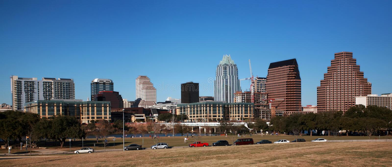 Downtown Austin. View on downtown Austin, Texas - riverside royalty free stock images