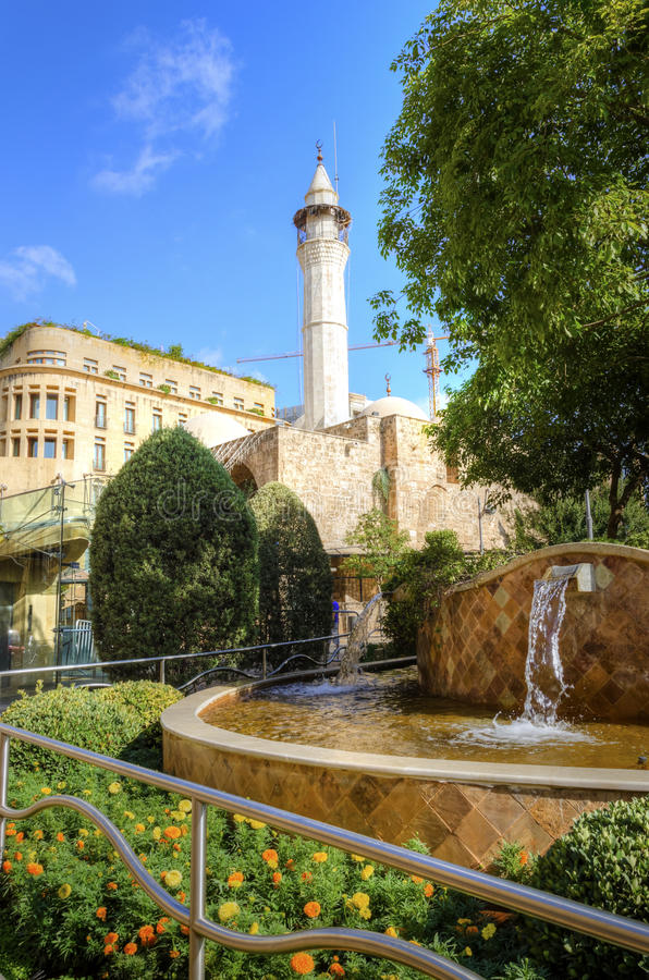 Downtown Beirut, Lebanon. A view of the Amir Assaf Mosque and a water fountain in Downtown Beirut (Weygand steet), in Lebanon, at the central district of the stock photography