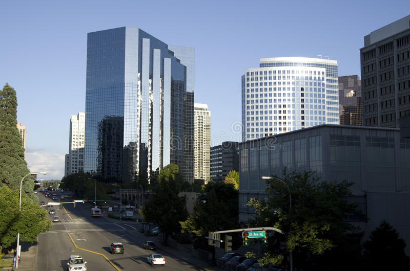 Downtown Bellevue. Nice architectures in Downtown Bellevue. Bellevue is the Microsoft's headquarter city located near Seattle stock photo