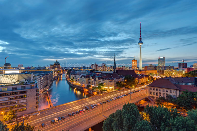 Downtown Berlin with the famous Television Tower royalty free stock photos