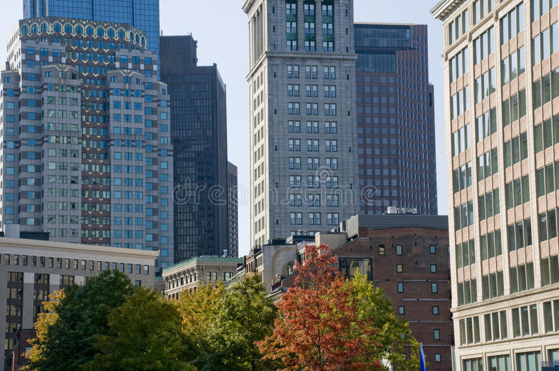 Downtown Boston in the Fall. With Trees and Skyscrapers stock photos