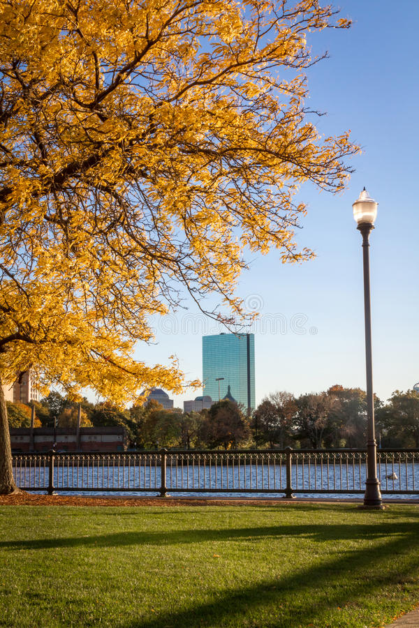 Downtown Boston during fall. Picture of the river Charles and downtown Boston taken during a cold fall day. Vibrant trees in the park and a perfect blue sky stock photos