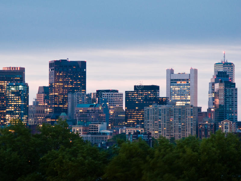 Downtown Boston Skyscrapers. Skyscrapers of downton Boston in the evening royalty free stock photography