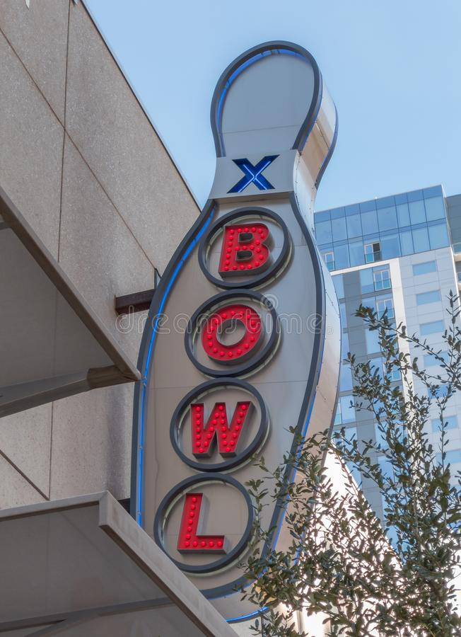 Bowling alley sign stock image