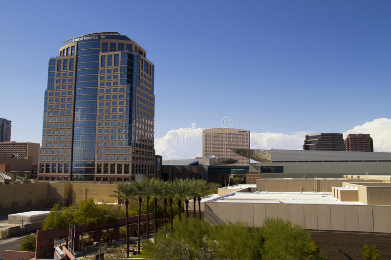 Downtown Buildings of Phoenix Arizona. Downtown Phoenix, Arizona, office buildings and convention center royalty free stock image