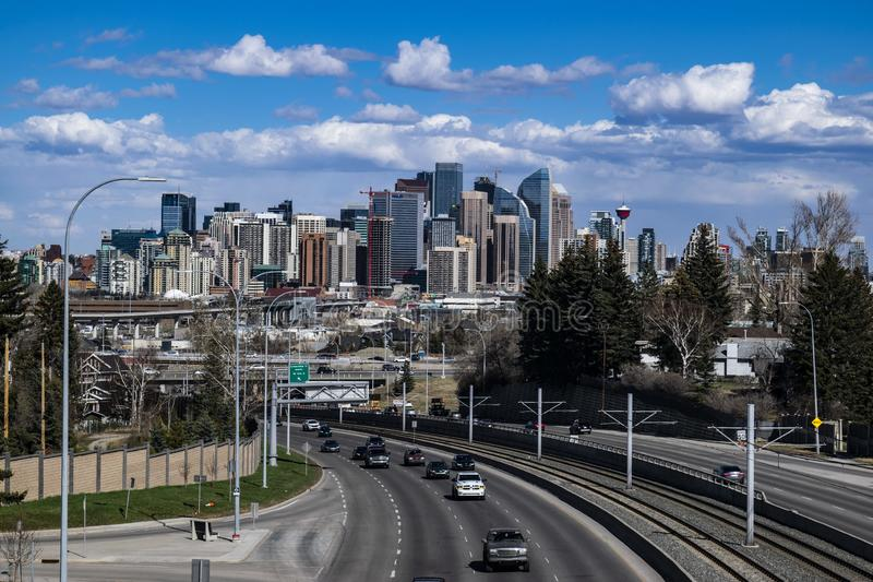 Downtown Calgary from Crowchild Trail royalty free stock image