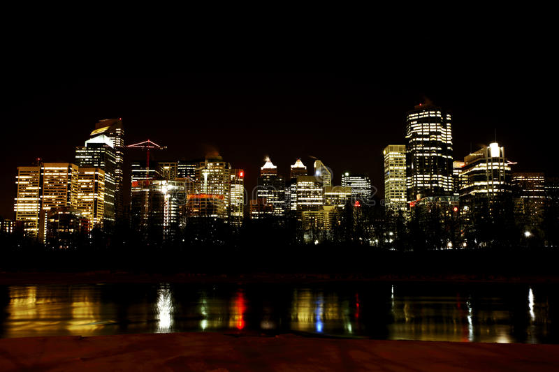 Download Downtown Calgary at night stock photo. Image of river - 15637660