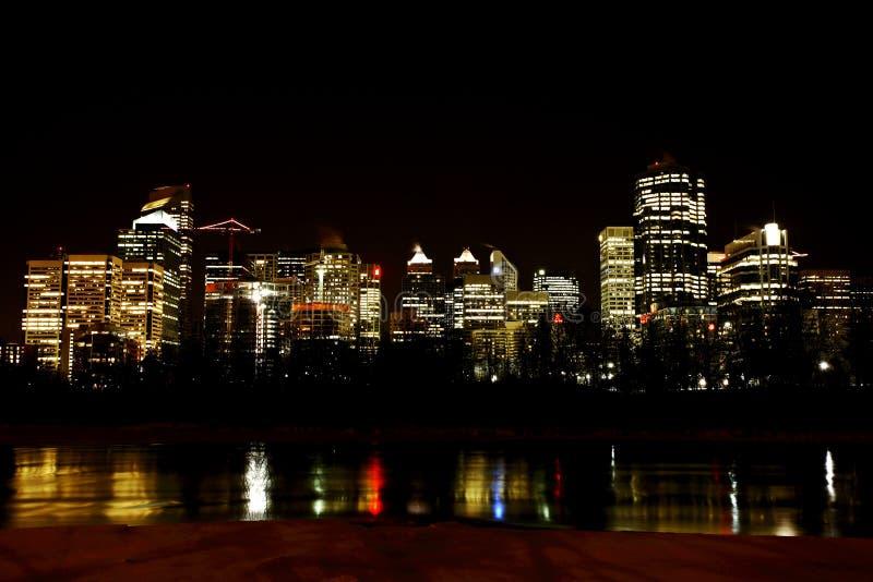 Downtown Calgary at night stock photo