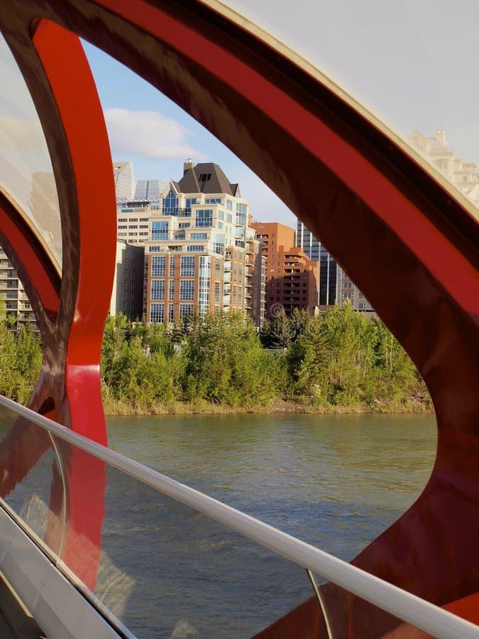 Downtown Calgary from Peace Bridge royalty free stock photo