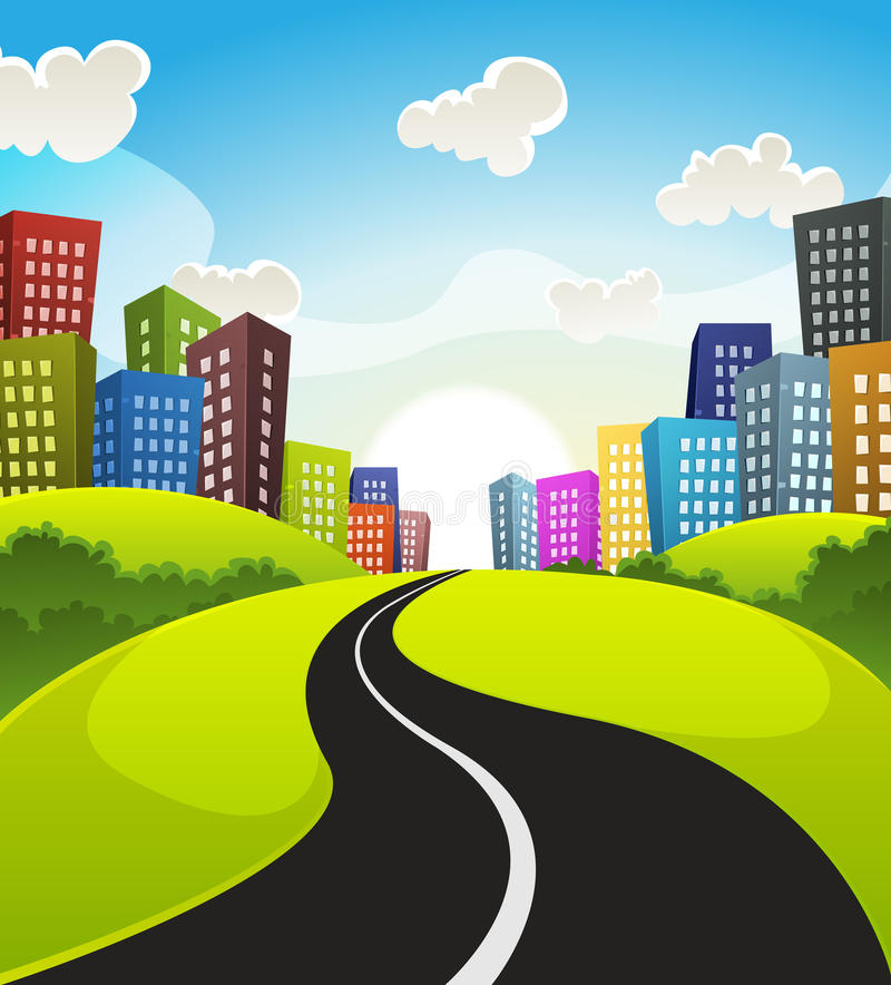 Downtown Cartoon Landscape vector illustration