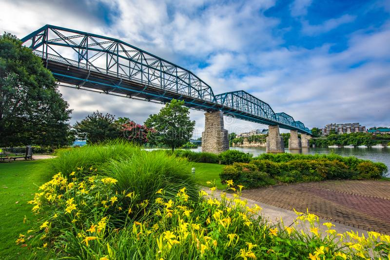 Downtown Chattanooga Tennessee TN USA. Downtown Chattanooga Tennessee TN Coolidge Park and Market Street Bridge stock photography