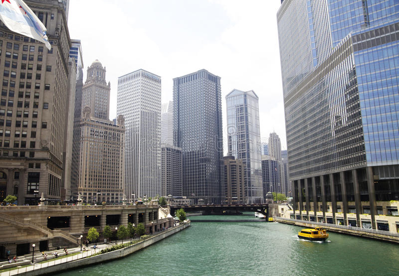 Downtown Chicago River royalty free stock photography
