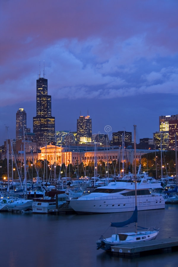 Downtown Chicago from marina stock photo