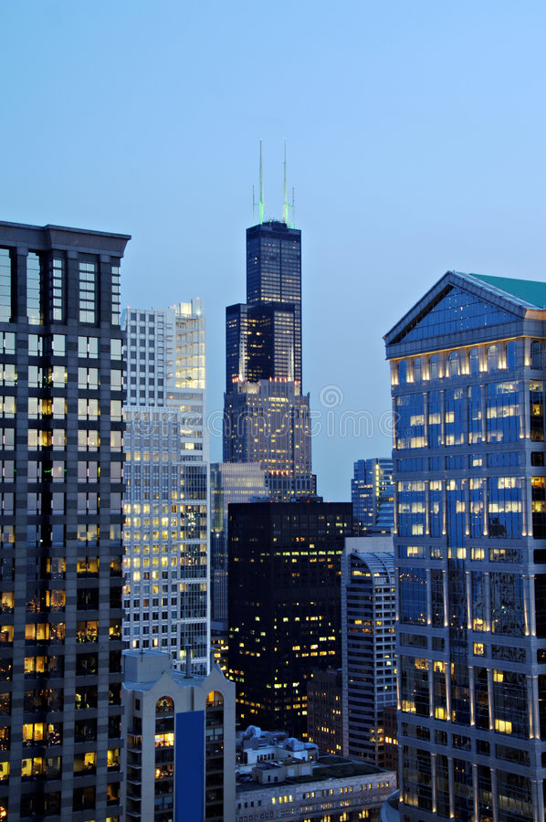 Download Downtown Chicago at Night stock image. Image of travel - 5021873