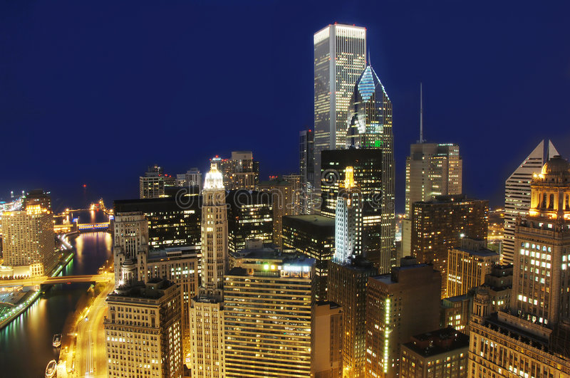 Downtown Chicago At Night Royalty Free Stock Photography