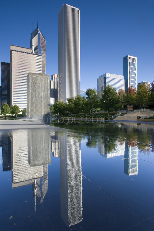 Downtown Chicago Reflected Royalty Free Stock Photography