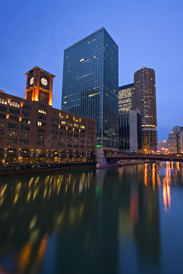 Downtown Chicago from the river stock image