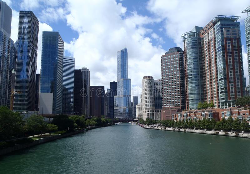 Downtown Chicago skyline view from Navy Pier stock photography