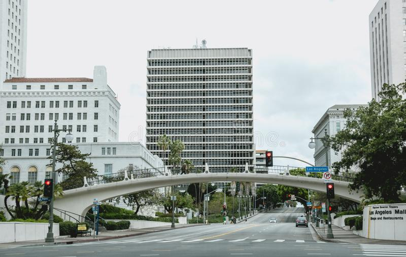 Downtown and the City Hall of Los Angeles. Main Street in the early morning stock image