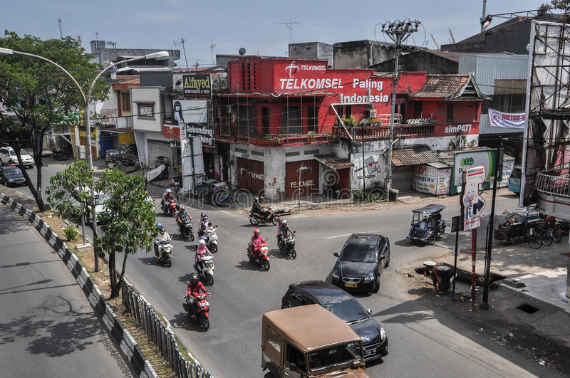 Downtown of The City of Makassar, Indonesia. Makassar, Indonesia. Downtown street of the city royalty free stock photo