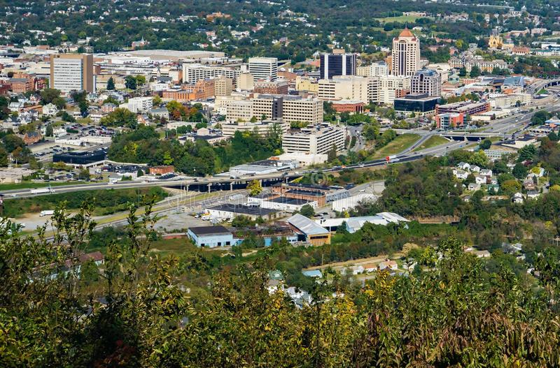 Downtown City of Roanoke From Mill Mountain Overlook stock images