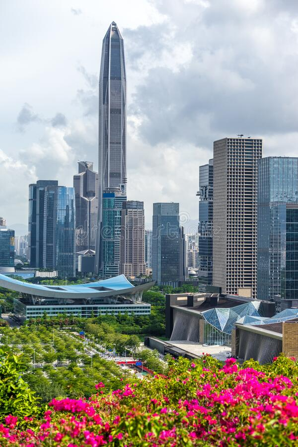 Downtown of city in Shenzhen China.  stock photos