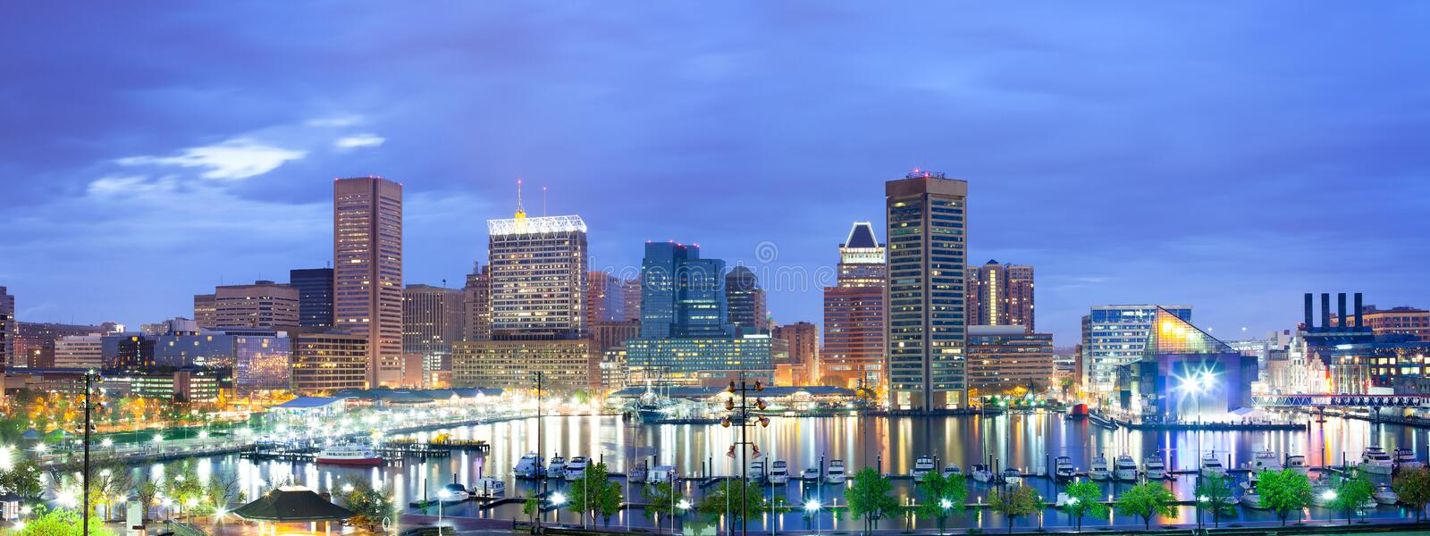 Downtown city skyline and Inner Harbor at night. Downtown city skyline and Inner Harbor, Baltimore, Maryland, USA royalty free stock image
