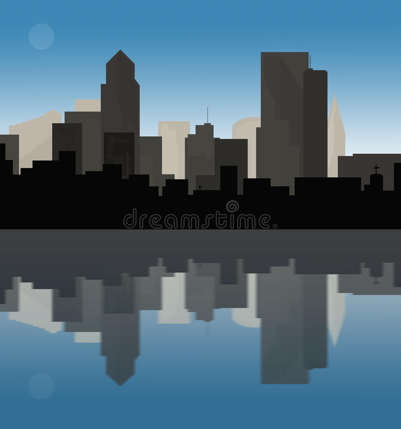 Downtown cityscape at dusk. Downtown cityscape reflection during the early hours of evening