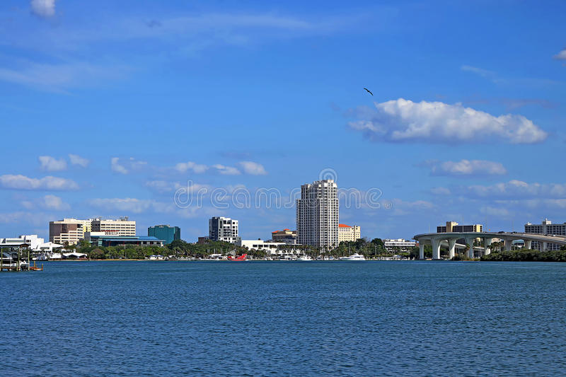 Downtown Clearwater. View of downtown and harbor Clearwater from Island Way stock photo