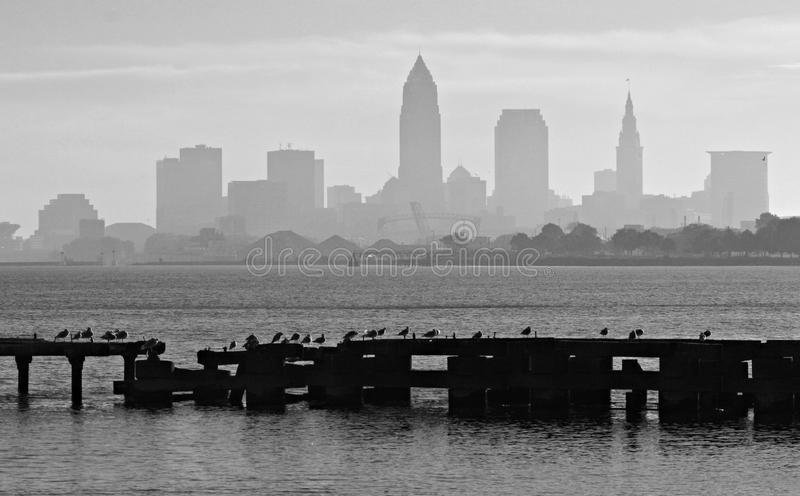 Downtown Cleveland Ohio and Lake Erie royalty free stock photo