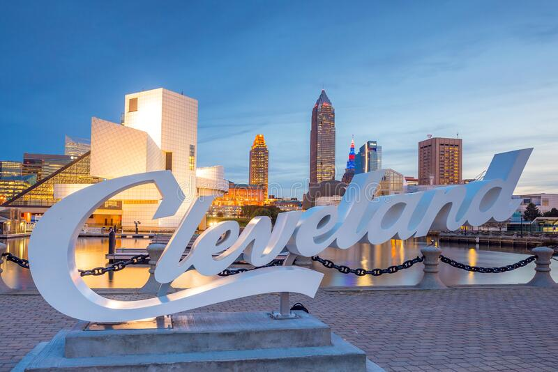 Downtown Cleveland skyline from the lakefront royalty free stock photography
