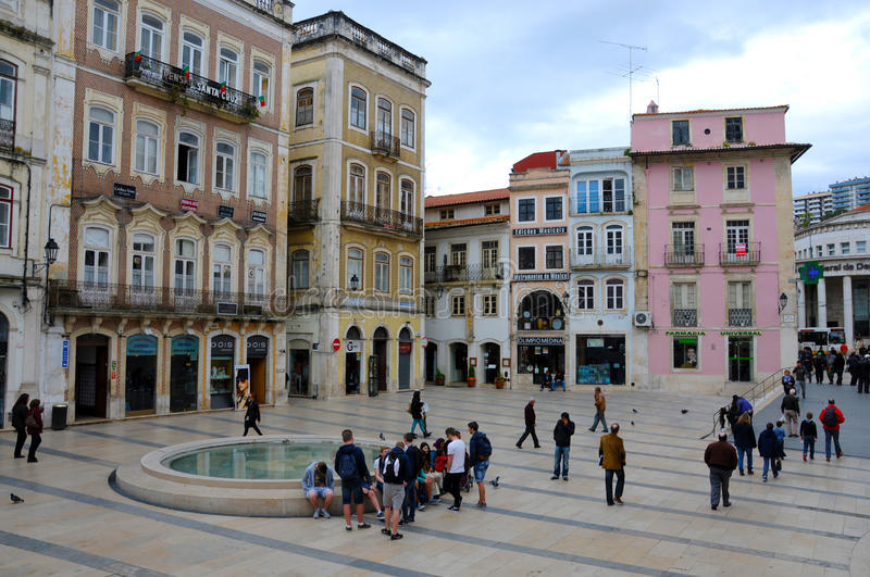 Downtown Coimbra. Portugal. Coimbra began to evolve into a major cultural centre with the foundation of the University of Coimbra in 1290. The university, one royalty free stock images