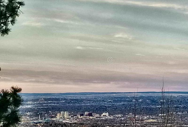From Up Here. Downtown Colorado Springs from Cheyenne mountain royalty free stock image