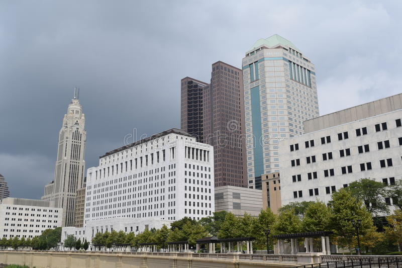 Downtown Columbus Ohio During a Rainstorm royalty free stock image