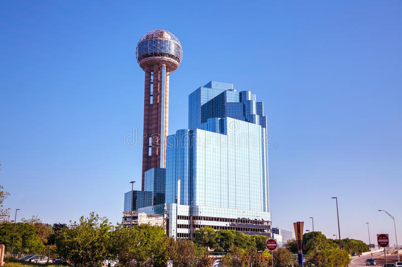Downtown of Dallas. DALLAS - APRIL 16: Downtown of Dallas with Reunion Tower on April 16, 2014 in Dallas, Texas. It is a 561 ft (171 m) observation tower and one stock photo
