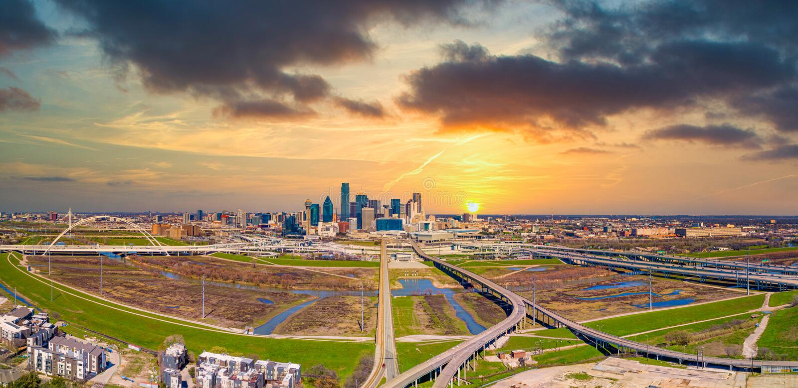 Downtown Dallas, Texas, USA Drone Skyline Aerial royalty free stock photography