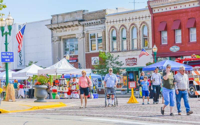 Downtown Delavan, Wisconsin, People in Streets stock image