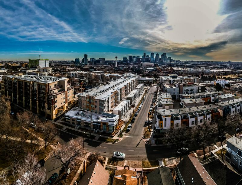 Downtown Denver Colorado. Modern apartments with downtown Denver Colorado skyline on the background royalty free stock images