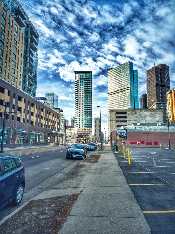 Downtown Denver Colorado. Raw HDR. An HDR photo of downtown Denver Colorado showcasing skyscrapers and clouds stock photo