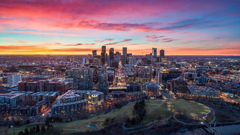 Downtown Denver, Colorado, USA Drone Skyline Aerial Panorama stock photography