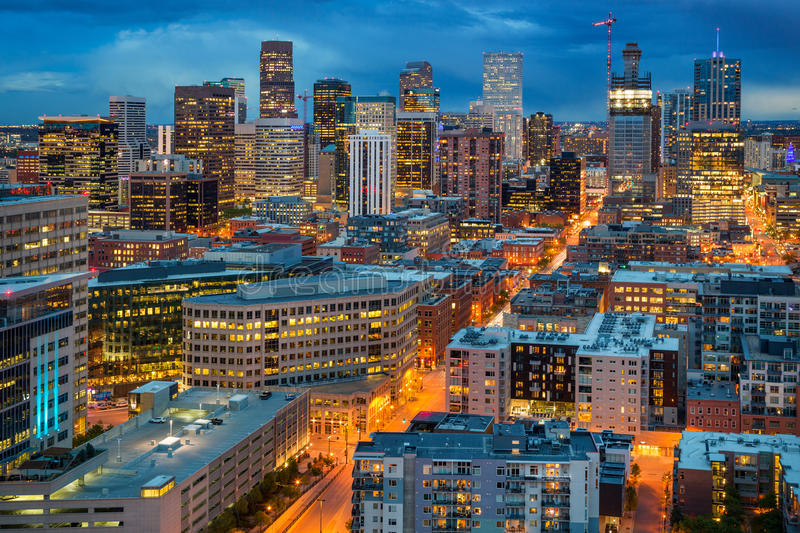 Downtown Denver at Duck. A shot from a high-rise building in downtown Denver looking at Downtown city lights stock photos