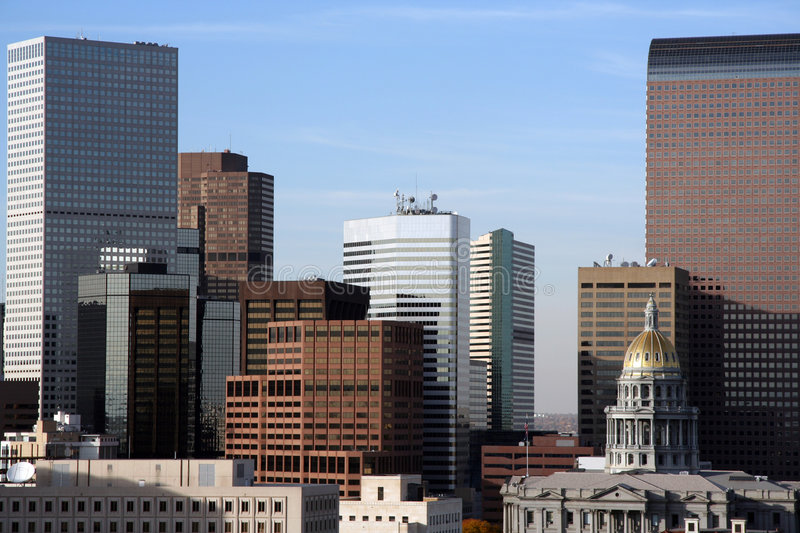 Downtown Denver Skyline. Tight shot of Denver skyline from the 15th floor of a nearby hotel royalty free stock images