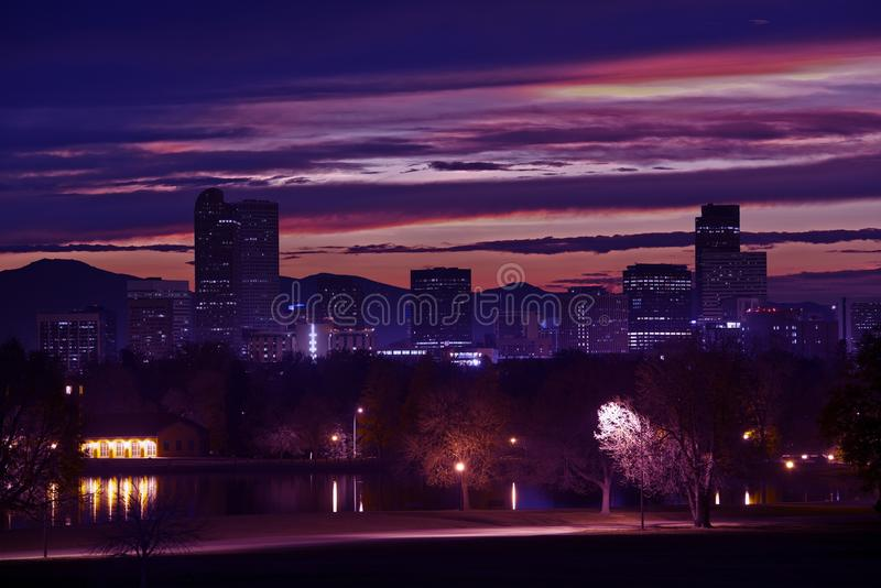 Downtown Denver Skyline. Beautiful Sunset in Denver, Colorado, United States stock images