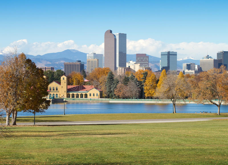 Downtown Denver on a Sunny Fall Day. Downtown Denver Skyline, on a bright autumn morning, with City Park in the foreground stock photo