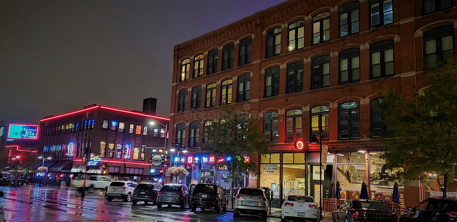 Downtown Des Moines Night Life stock images