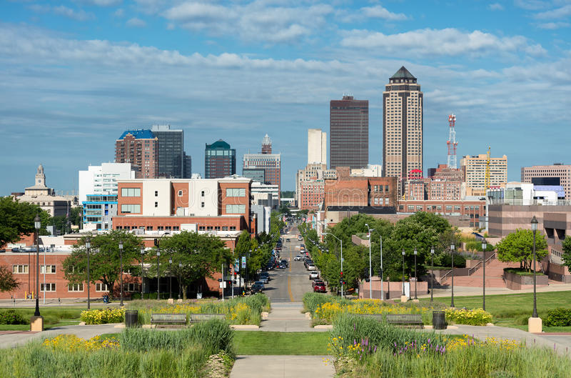 Downtown Des Moines. From the steps of the Iowa State Capitol in Des Moines, Iowa stock images