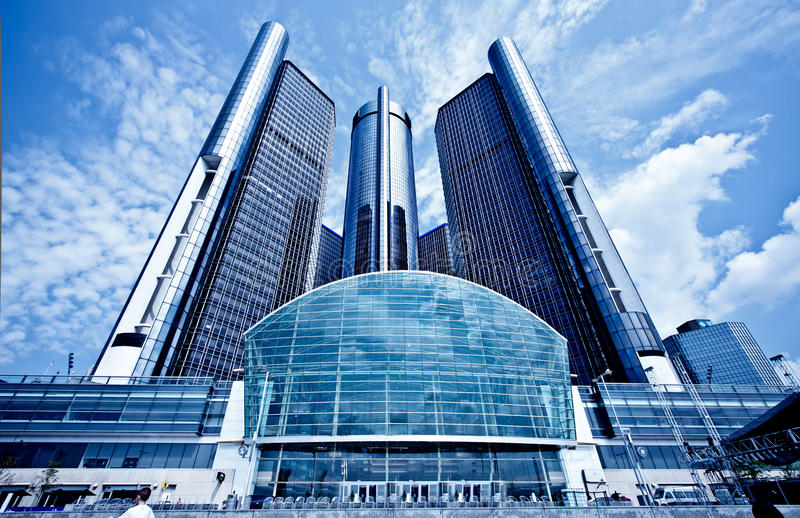 Downtown Detroit GM Hedquarter stock photo