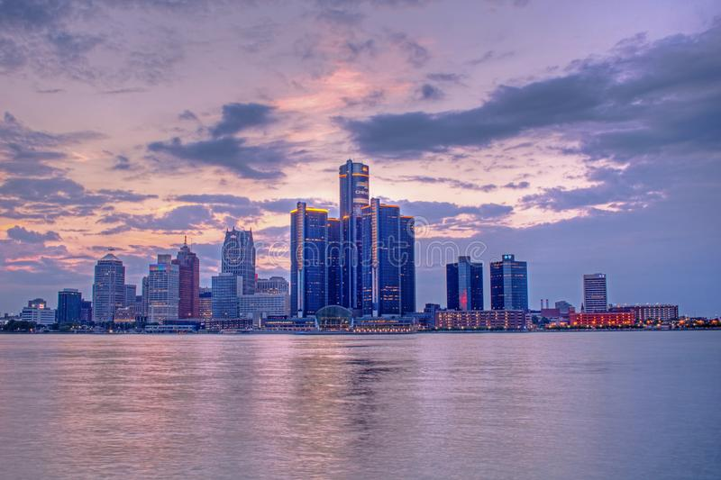 Downtown Detroit, Michigan At Sunset stock images