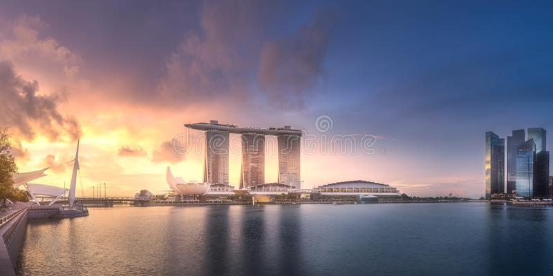 Download Downtown District And Marina Bay In Singapore Stock Image - Image of bridge, modern: 109307049